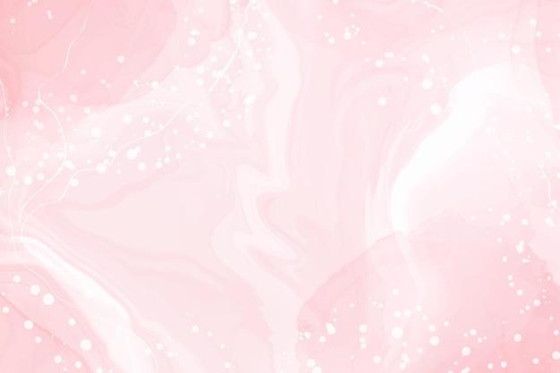 Abstrakter rosafarbener flüssiger aquarellhintergrund mit weißen linienpunkten und flecken