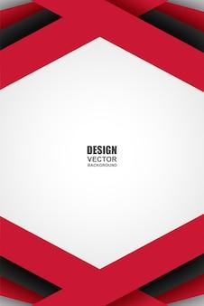 Abstrakter rot-schwarz-weißer geometrischer deckungshintergrund