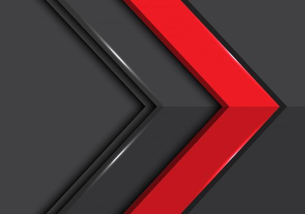 Abstrakter roter grauer pfeil mit stil-hintergrund-vektorillustration des leerraumrichtungsdesigns moderne futuristische.