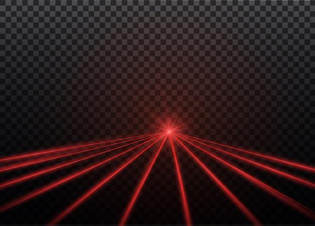 Abstrakter roter laserstrahl. transparent isoliert auf schwarzem hintergrund. abbildung. der lichteffekt. flutlichtrichtung
