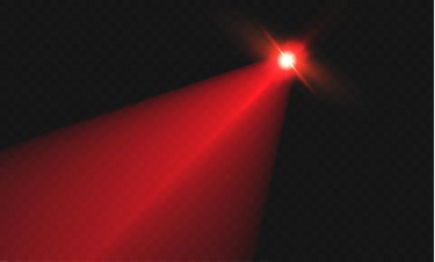 Abstrakter roter laserstrahl. transparent isoliert auf schwarzem hintergrund. der lichteffekt. flutlichtrichtung.