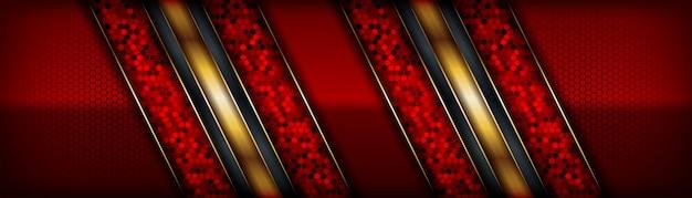 Abstrakter roter luxushintergrund mit elegantem goldrand auf dem dunklen hintergrund