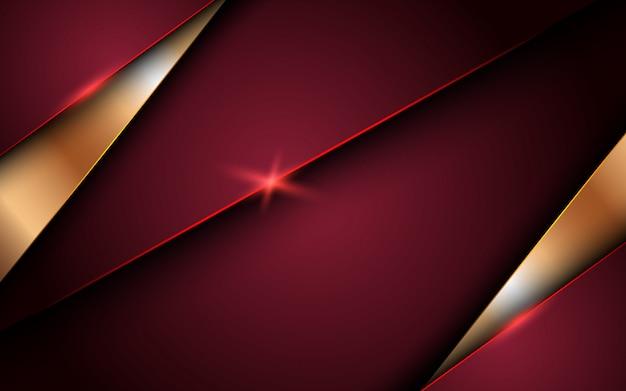 Abstrakter roter luxushintergrund mit überlappungsschichten. textur mit goldener linie und glänzendem goldenen lichteffekt.
