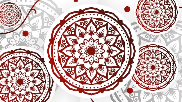 Abstrakter roter mandala-kunst-dekorativer hintergrund 4