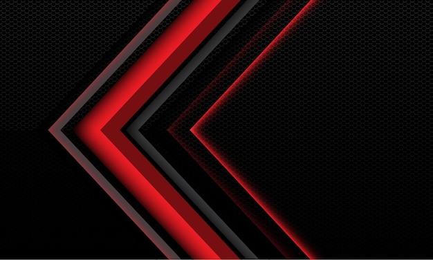 Abstrakter roter metallischer hintergrund mit pfeil und geometrischen schatten