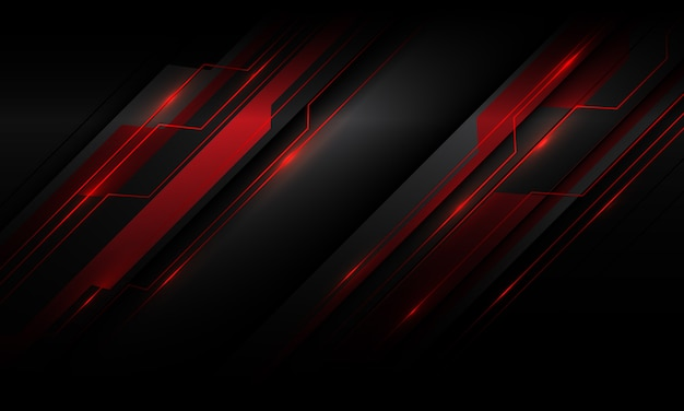 Abstrakter roter metallischer licht-cyber-polygon-schrägstrich auf futuristischem technologiehintergrund des dunkelgrauen schattenentwurfs.