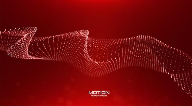 Abstrakter roter partikelhintergrund flow wave mit punktlandschaft technologie-vektor-illustration