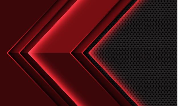 Abstrakter roter pfeil geometrische schattenrichtung graues kreismaschendesign moderner futuristischer hintergrund
