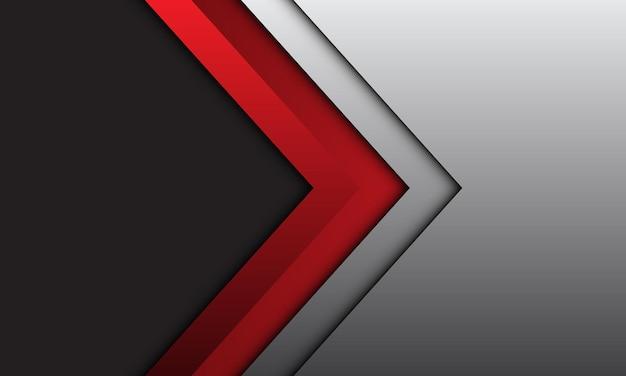 Abstrakter roter pfeil richtung silberner linienschatten mit dunkelgrauem leerraumdesign moderner futuristischer hintergrund