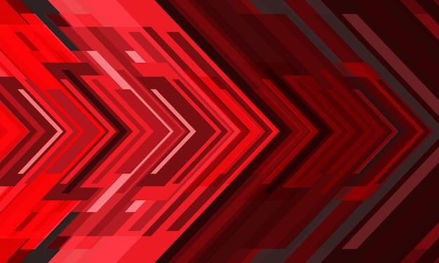 Abstrakter roter pfeillicht geometrischer richtungsentwurf moderner futuristischer technologiehintergrundvektor