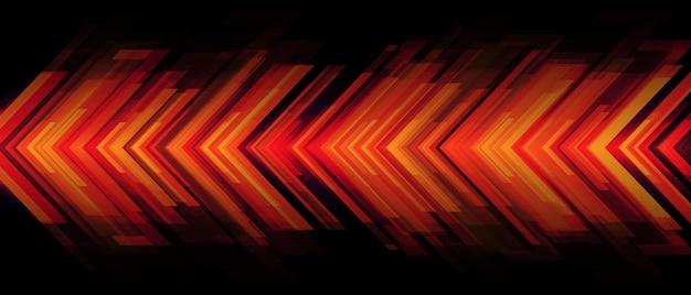 Abstrakter roter pfeillichtmacht geometrischer richtungsentwurf futuristischer technologiehintergrundvektor