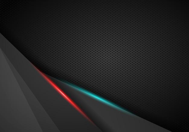 Abstrakter roter rahmen mit stahlbeschaffenheitslochmuster trägt modernen hintergrund der technologie zur schau.