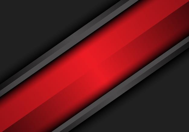 Abstrakter roter schrägstrich auf dunkelgrauem metallischem design