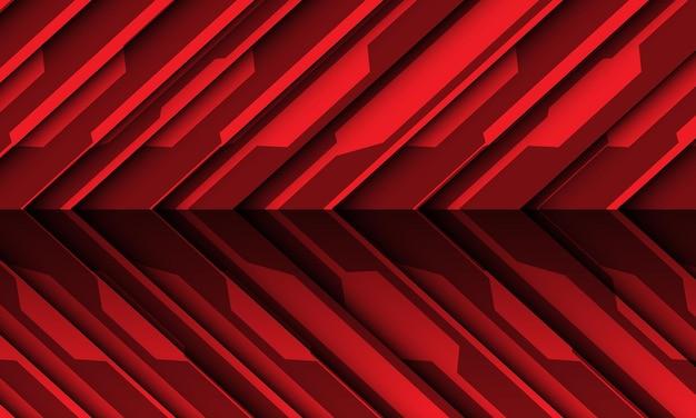 Abstrakter roter stromkreis cyber-schattenpfeilrichtung moderner futuristischer technologiehintergrund