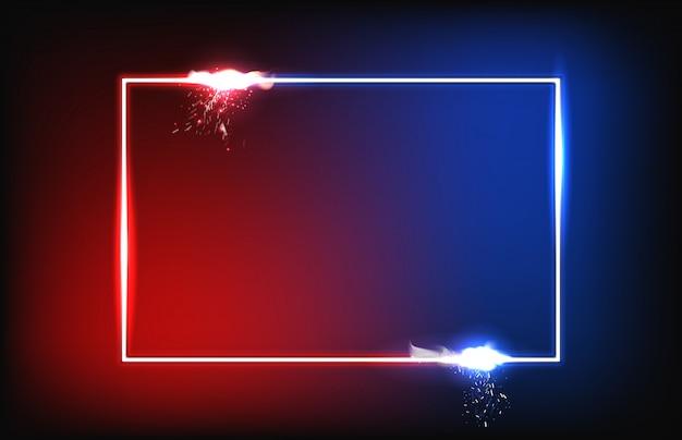 Abstrakter roter und blauer hintergrund mit glänzendem rahmen