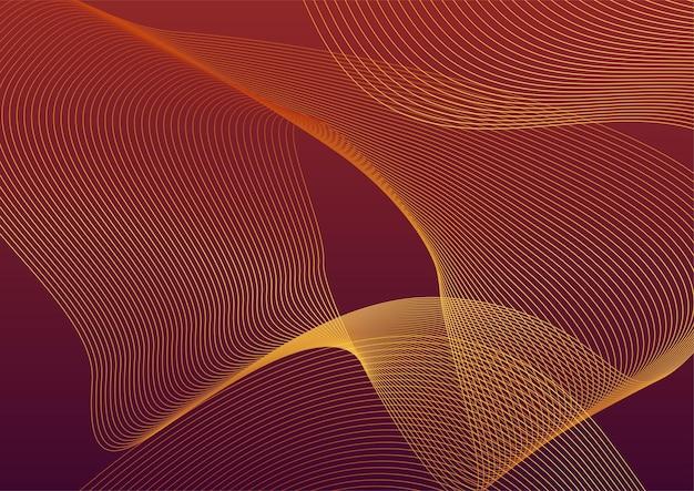 Abstrakter roter und goldener linienhintergrund