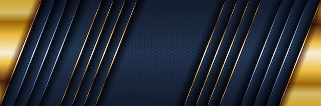 Abstrakter schablonen dunkelblauer luxushintergrund mit goldbeleuchtungslinien