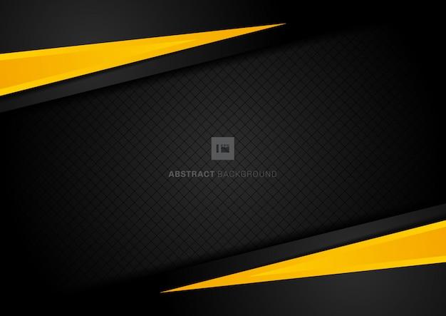 Abstrakter schablonengelb-geometrischer schwarzer hintergrund.