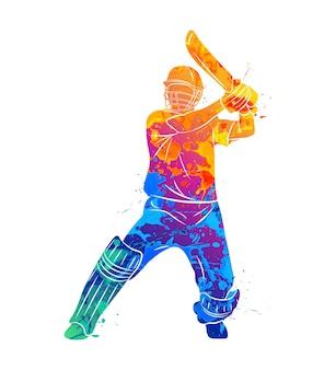 Abstrakter schlagmann, der cricket vom spritzen der aquarelle spielt. illustration von farben.
