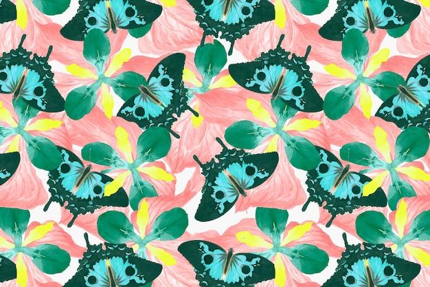 Abstrakter schmetterlingsblumenhintergrundvektor mit leerzeichen, remix von the naturalist's miscellany von george shaw