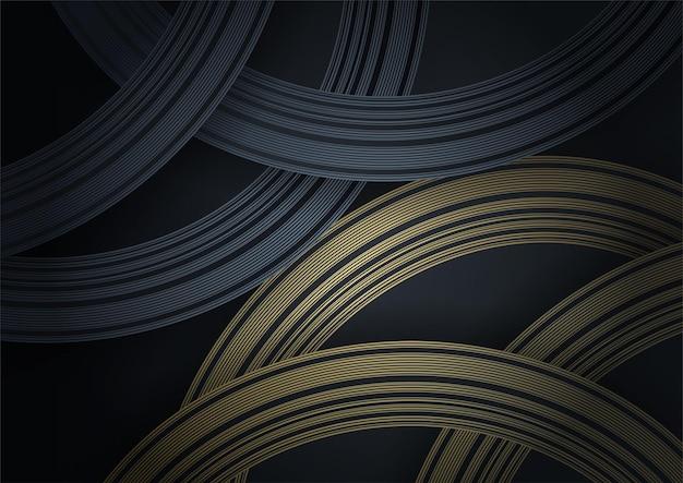 Abstrakter schwarz- und goldluxushintergrund. moderner dunkler fahnenschablonenvektor mit geometrischen formmustern. futuristisches digitales grafikdesign