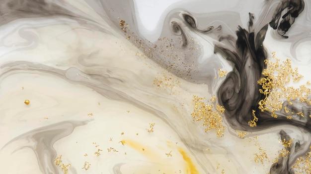 Abstrakter schwarzer aquarell- und goldglitterhintergrundvektor