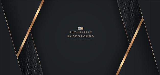 Abstrakter schwarzer geometrischer formhintergrund mit diagonaler goldener linie und glitzertextur.