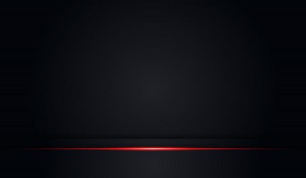 Abstrakter schwarzer hintergrund mit roter glänzender linie
