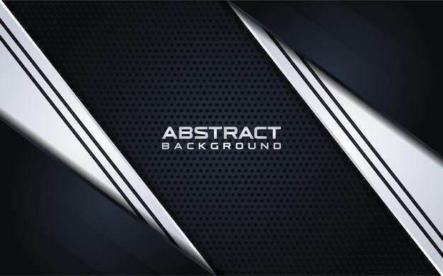 Abstrakter schwarzer hintergrund mit silbernem farbverlauf