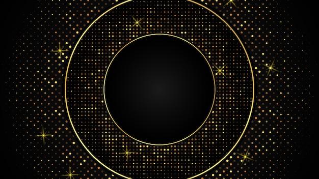 Abstrakter schwarzer luxushintergrund aus dunklem goldpapierdreieck, cirlce und goldenem glanz, eleganter premium, cover-layout-vorlage