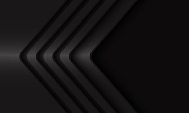Abstrakter schwarzer metallischer pfeil richtung moderner futuristischer luxushintergrund.