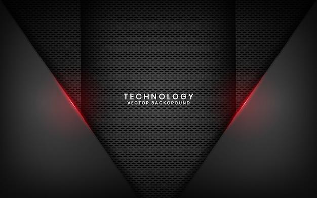 Abstrakter schwarzer metallischer technologiehintergrund mit rotem lichteffekt auf dunklen raum