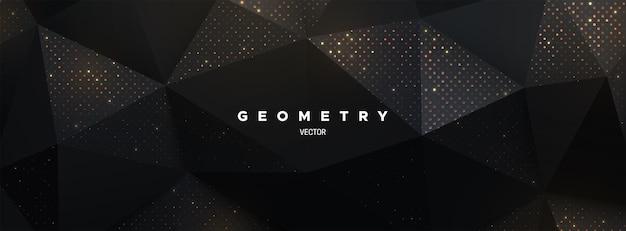 Abstrakter schwarzer polygonaler hintergrund mit funkelnden goldenen glitzern