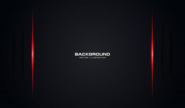 Abstrakter schwarzer schattenhintergrund mit roter glänzender linie