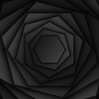 Abstrakter schwarzer sechseckiger überlappungsschichthintergrundhexagon-form-rotationsmusterdunkles minimales design