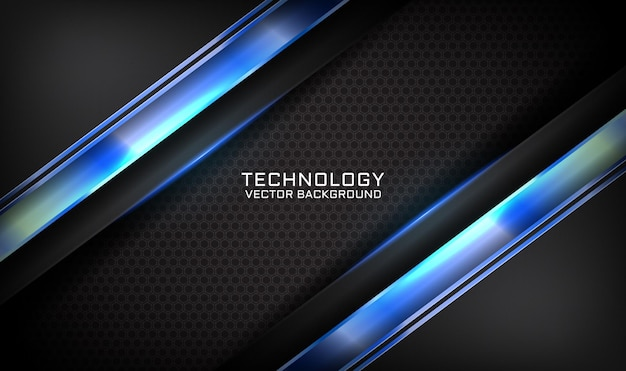Abstrakter schwarzer technologiehintergrund 3d mit blauem lichteffekt auf dunklen raum