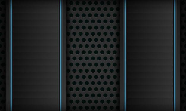 Abstrakter schwarzer technologiehintergrund der dimension 3d mit blaulichtdekoration