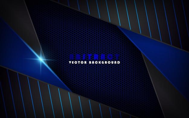 Abstrakter schwarzer technologiehintergrund mit blauem metallischem
