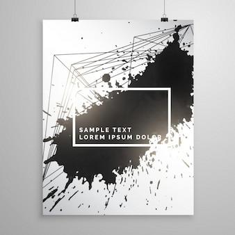 Abstrakter schwarzer tinte splatter-plakat faltblatt vorlage
