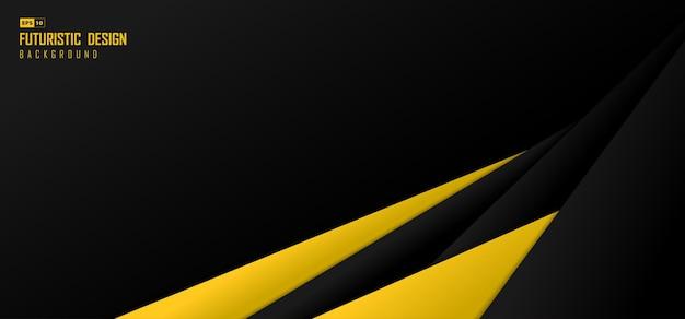 Abstrakter schwarzer und gelber breiter technologieüberlappungsdesignhintergrund. überlappendes design für die abdeckung. illustrationsvektor