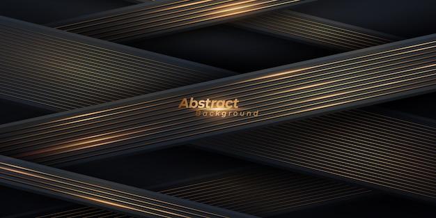 Abstrakter schwarzer und goldener hintergrund. luxuriöser geometrischer hintergrund mit goldenen linien.