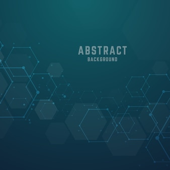 Abstrakter sechseckiger hintergrund der molekularen strukturen