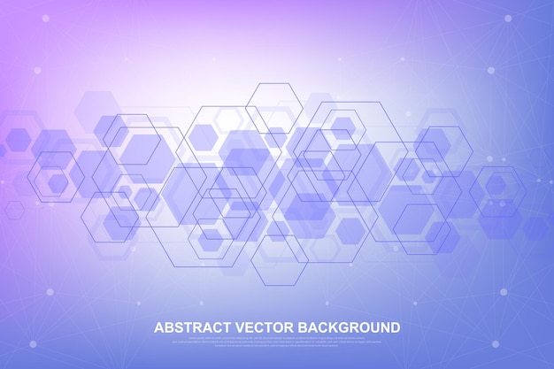 Abstrakter sechseckiger hintergrund mit molekularen strukturen illustration