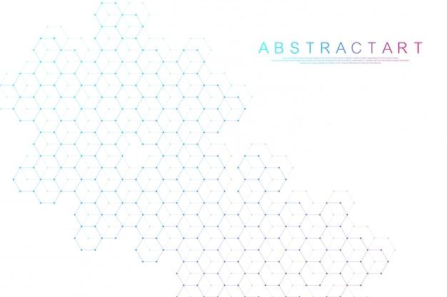 Abstrakter sechseckiger kastenhintergrund. molekülstruktur mit sechsecklinien und punkten. medizinisches schablonendesign. wissenschafts- und technologiekonzept.