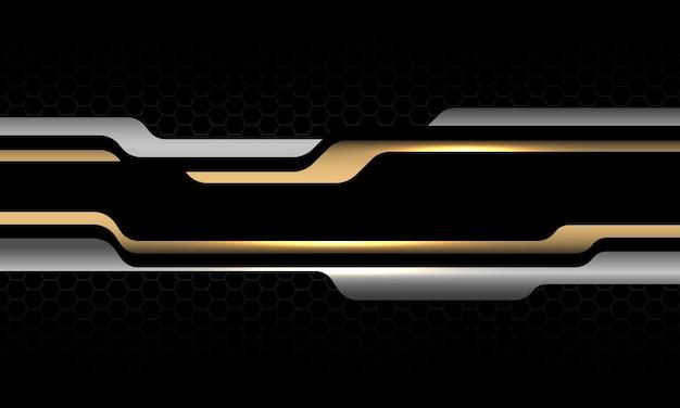 Abstrakter silber-goldener geometrischer grauer metallischer schwarzer sechseck-mesh-luxus-futuristischer technologievektor