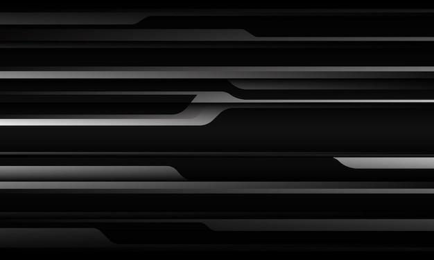 Abstrakter silbergrauer metallischer schatten schwarze linie cyber geometrisches design futuristisch