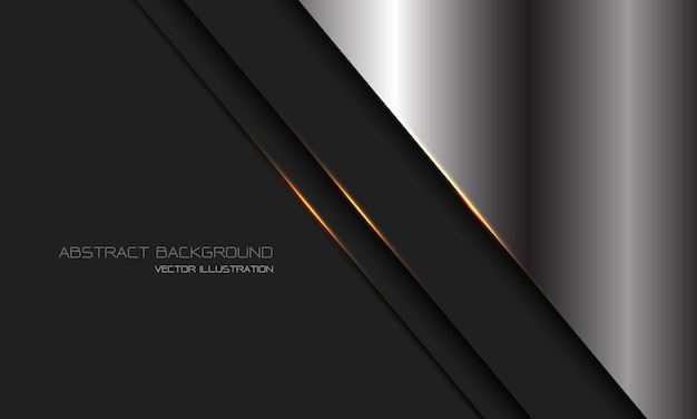 Abstrakter silberner dunkelgrauer metallischer goldlichtlinien-schrägstrich mit modernem luxus-futuristischem technologiehintergrund des leerraumdesigns