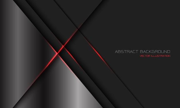 Abstrakter silberner dunkelgrauer metallischer roter lichtlinien-schrägstrich mit modernem luxus-futuristischen technologiehintergrund des leerraumdesigns