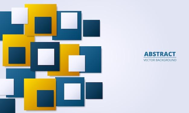 Abstrakter silberner hintergrund mit farbigen quadratischen farbverlaufsformen. leicht modern.