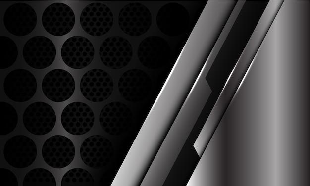Abstrakter silberner schwarzer cyber auf dunklem kreisnetzmusterentwurf moderner luxusfuturistischer hintergrund.